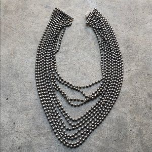 beaded statement necklace duo silver bronze large